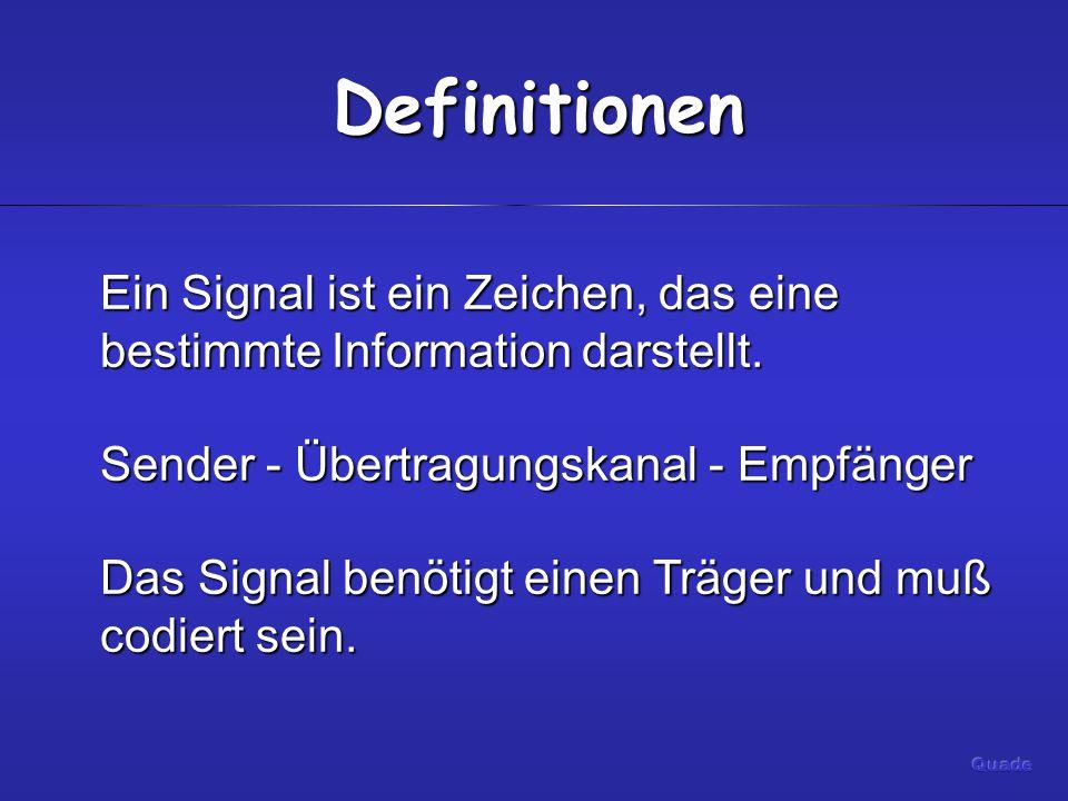 Definitionen Ein Signal ist ein Zeichen, das eine bestimmte Information darstellt.