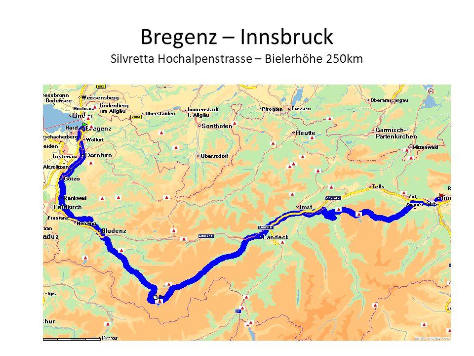 Bregenz – Innsbruck Silvretta Hochalpenstrasse – Bielerhöhe 250km