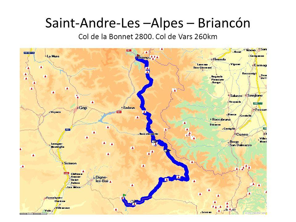 Saint-Andre-Les –Alpes – Briancón Col de la Bonnet 2800. Col de Vars 260km