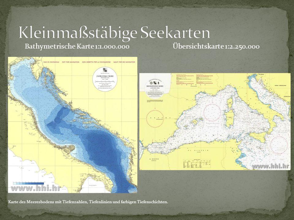 Bathymetrische Karte 1:1.000.000 Karte des Meeresbodens mit Tiefenzahlen, Tiefenlinien und farbigen Tiefenschichten.