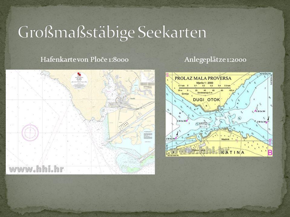 Hafenkarte von Ploče 1:8000Anlegeplätze 1:2000