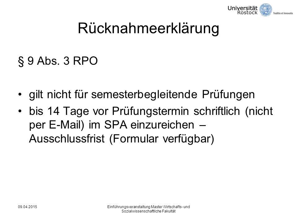 Rücknahmeerklärung § 9 Abs.