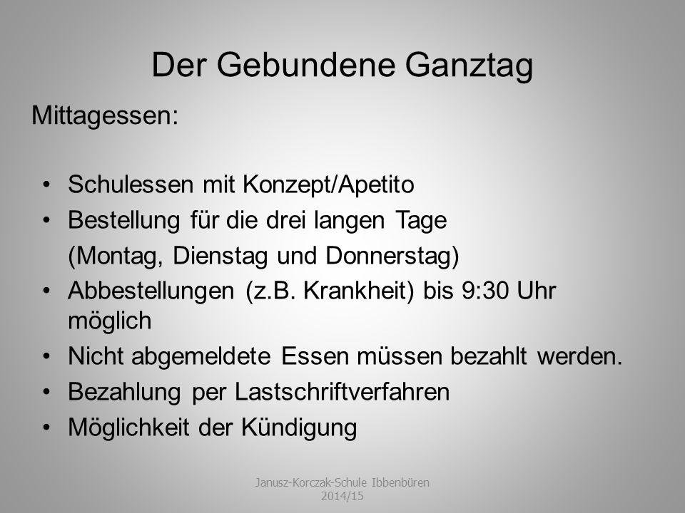 Der Gebundene Ganztag Schulessen mit Konzept/Apetito Bestellung für die drei langen Tage (Montag, Dienstag und Donnerstag) Abbestellungen (z.B. Krankh