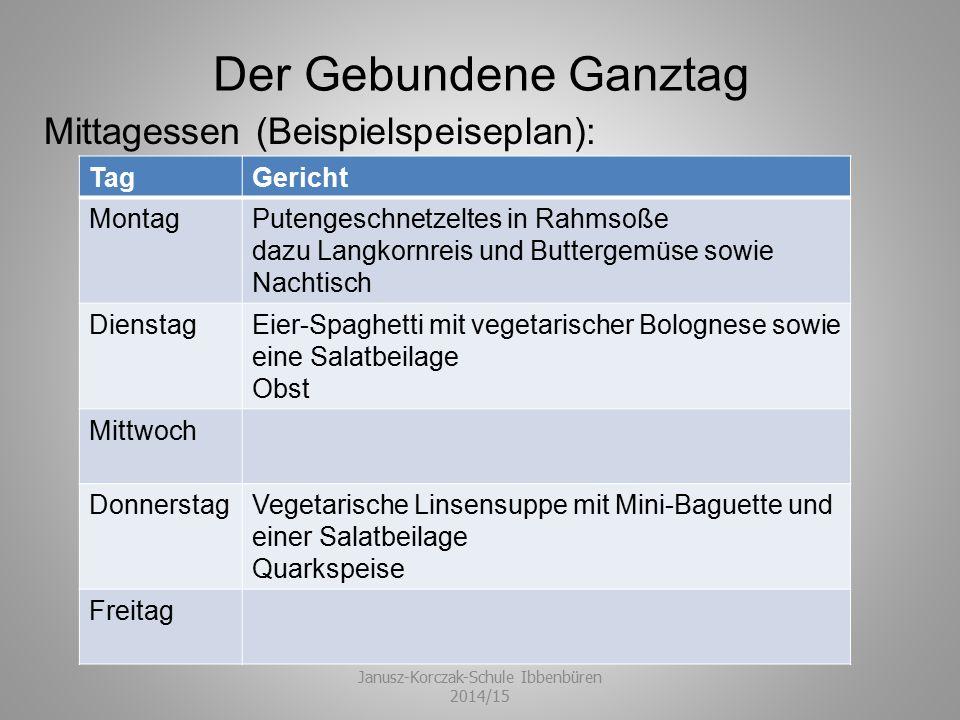 Der Gebundene Ganztag Janusz-Korczak-Schule Ibbenbüren 2014/15 Mittagessen (Beispielspeiseplan): TagGericht MontagPutengeschnetzeltes in Rahmsoße dazu
