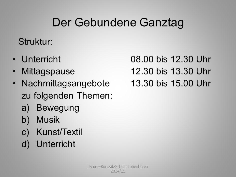 MontagDienstagMittwochDonnerstagFreitag Unterrichtsstunde 1 Wochenplan (DE / MA / E) Wochenplan (DE / MA / E) Individuelle Förderung Wochenplan (DE / MA / E) Wochenplan (DE / MA / E) 2 DeutschMathematikWochenplanDeutschEnglisch Bewegungspause 3 Fit for lifeMusikMathematikEnglischPhysik 4 Fit for lifeBiologieErdkundePolitikJUKO Bewegungspause ----- 5 GeschichteEnglischSportKunst----- 6 Mittagessen / Pause SportMittagessen / Pause ----- 7 KlassenverbandFörderband------Klassenverband----- 8 KlassenverbandFörderband------Klassenverband----- Der Gebundene Ganztag Janusz-Korczak-Schule Ibbenbüren 2014/15 B eispielhafter Stundenplan:
