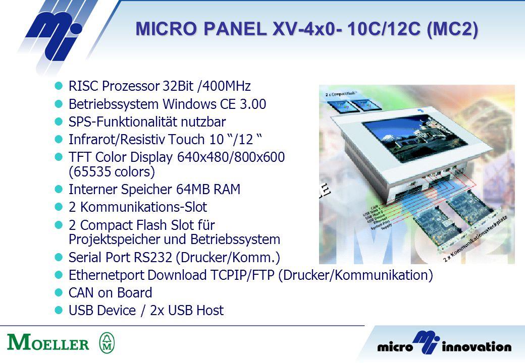 "RISC Prozessor 32Bit /400MHz Betriebssystem Windows CE 3.00 SPS-Funktionalität nutzbar Infrarot/Resistiv Touch 10 ""/12 "" TFT Color Display 640x480/800"