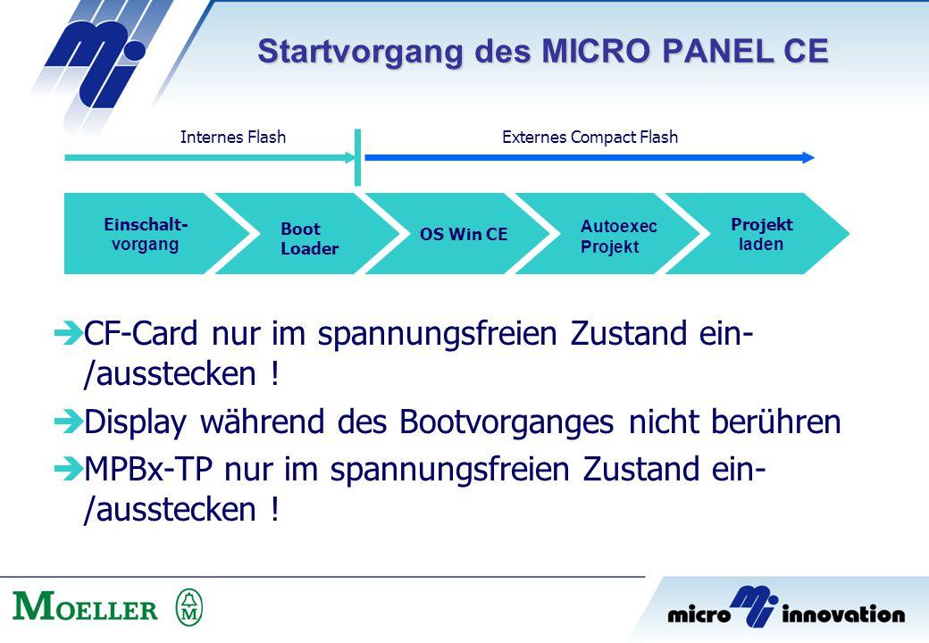 Einschalt- vorgang Boot Loader OS Win CE Autoexec Projekt laden  CF-Card nur im spannungsfreien Zustand ein- /ausstecken !  Display während des Boot