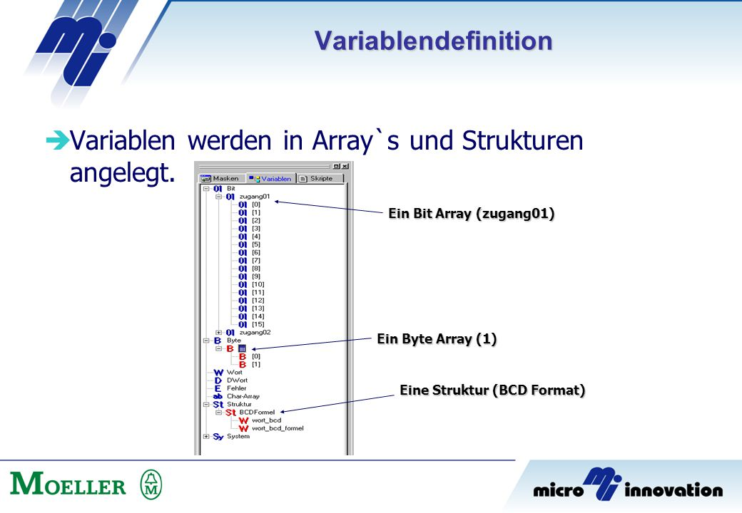  Variablen werden in Array`s und Strukturen angelegt. Ein Bit Array (zugang01) Ein Byte Array (1) Eine Struktur (BCD Format) Variablendefinition
