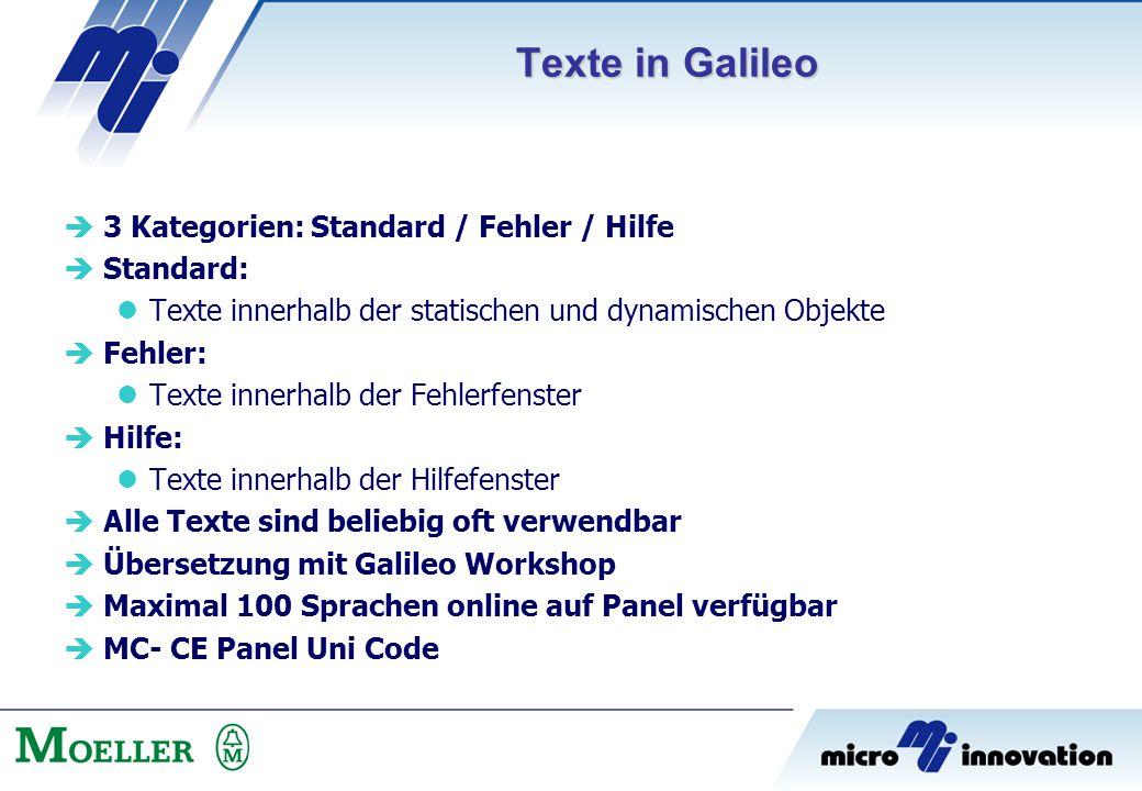  3 Kategorien: Standard / Fehler / Hilfe  Standard: Texte innerhalb der statischen und dynamischen Objekte  Fehler: Texte innerhalb der Fehlerfenst