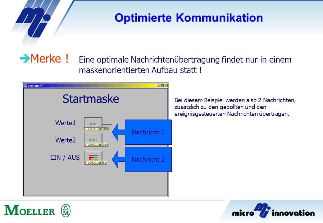  Merke ! Eine optimale Nachrichtenübertragung findet nur in einem maskenorientierten Aufbau statt ! Startmaske Werte1 Werte2 EIN / AUS Nachricht 1 Na
