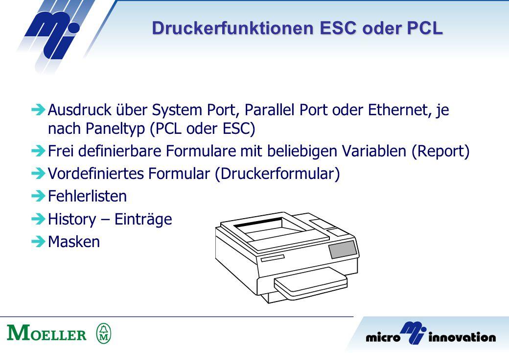  Ausdruck über System Port, Parallel Port oder Ethernet, je nach Paneltyp (PCL oder ESC)  Frei definierbare Formulare mit beliebigen Variablen (Repo
