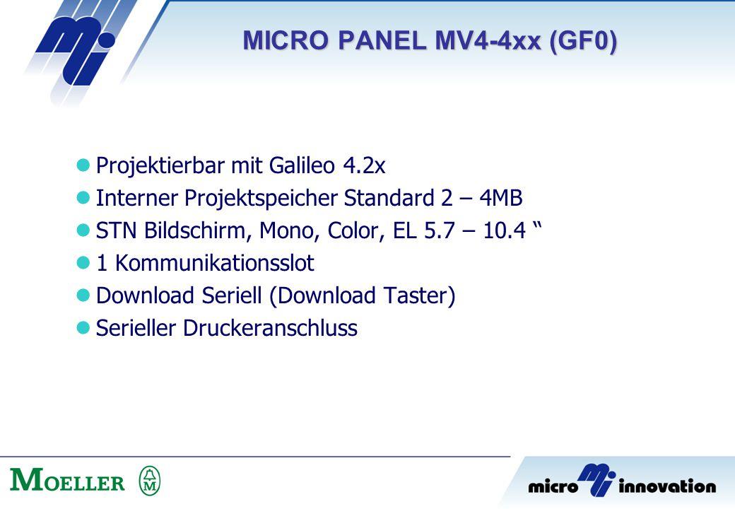 "Projektierbar mit Galileo 4.2x Interner Projektspeicher Standard 2 – 4MB STN Bildschirm, Mono, Color, EL 5.7 – 10.4 "" 1 Kommunikationsslot Download Se"