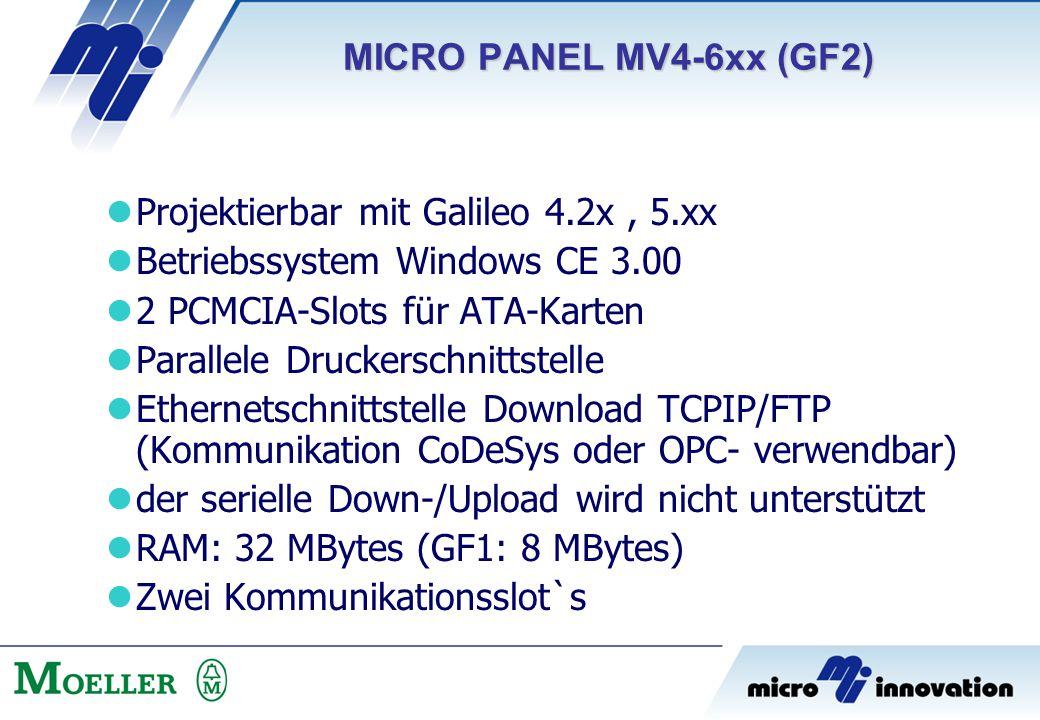 Projektierbar mit Galileo 4.2x, 5.xx Betriebssystem Windows CE 3.00 2 PCMCIA-Slots für ATA-Karten Parallele Druckerschnittstelle Ethernetschnittstelle