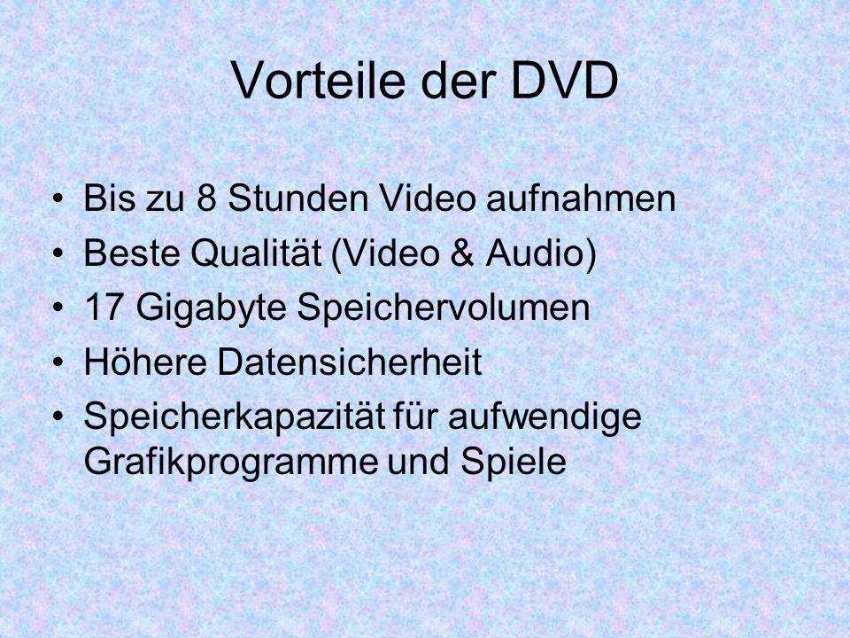 Vorteile der DVD Bis zu 8 Stunden Video aufnahmen Beste Qualität (Video & Audio) 17 Gigabyte Speichervolumen Höhere Datensicherheit Speicherkapazität