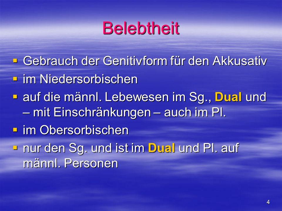 4 Belebtheit  Gebrauch der Genitivform für den Akkusativ  im Niedersorbischen  auf die männl.