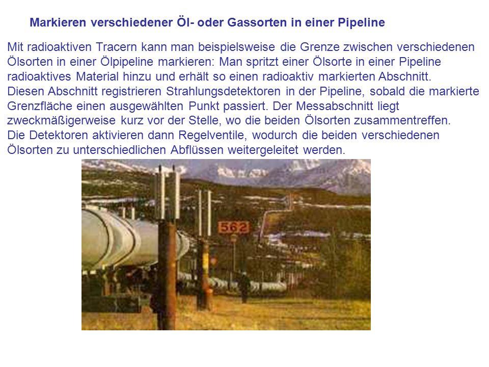 Markieren verschiedener Öl- oder Gassorten in einer Pipeline Mit radioaktiven Tracern kann man beispielsweise die Grenze zwischen verschiedenen Ölsort