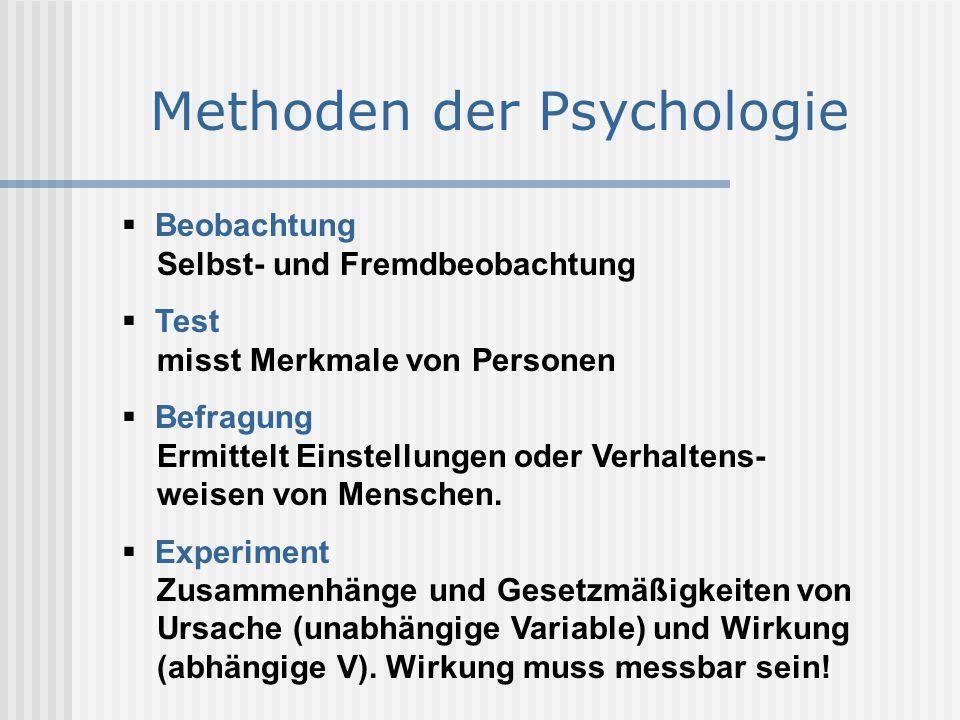 Methoden der Psychologie  Beobachtung Selbst- und Fremdbeobachtung  Test misst Merkmale von Personen  Befragung Ermittelt Einstellungen oder Verhal