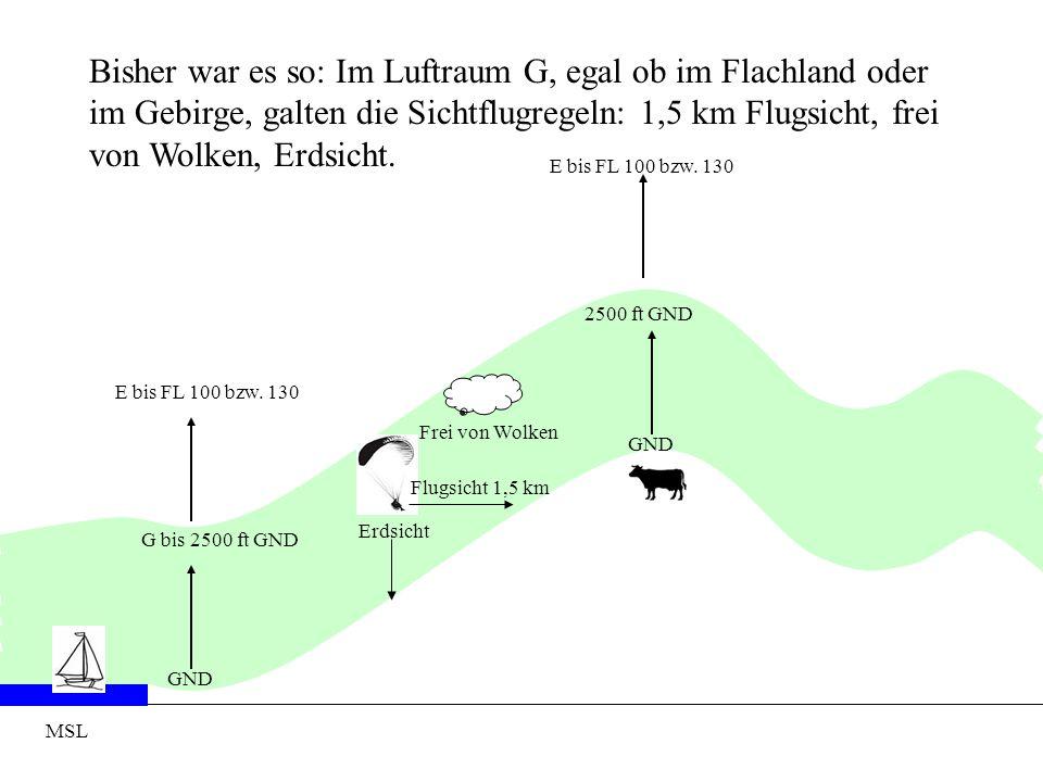 MSL GND G bis 2500 ft GND GND 2500 ft GND Bisher war es so: Im Luftraum G, egal ob im Flachland oder im Gebirge, galten die Sichtflugregeln: 1,5 km Fl