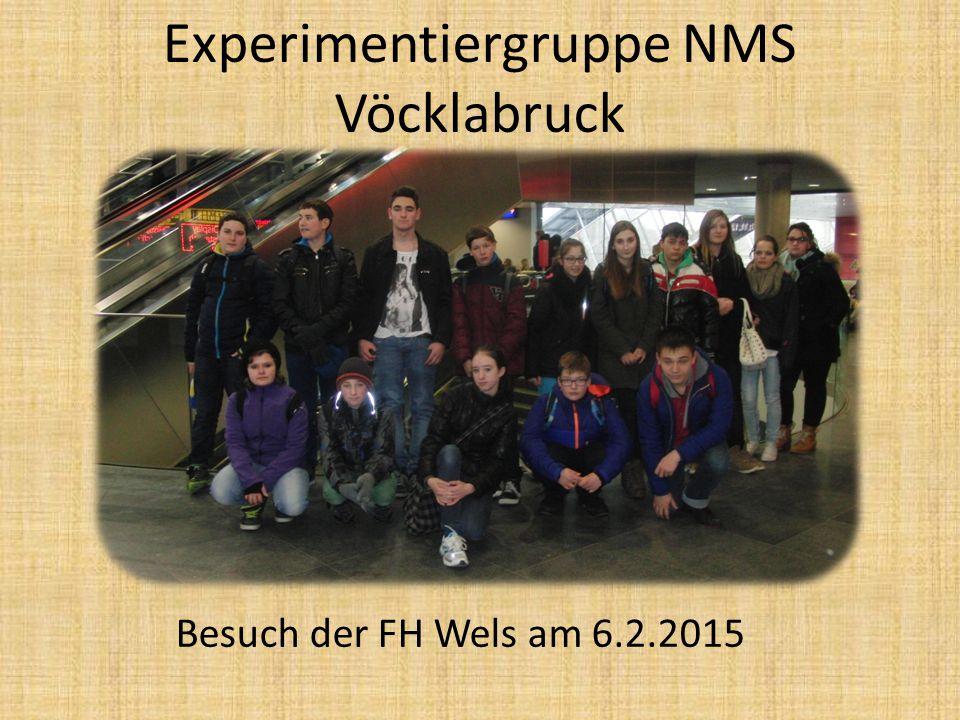 Experimentiergruppe NMS Vöcklabruck Besuch der FH Wels am 6.2.2015