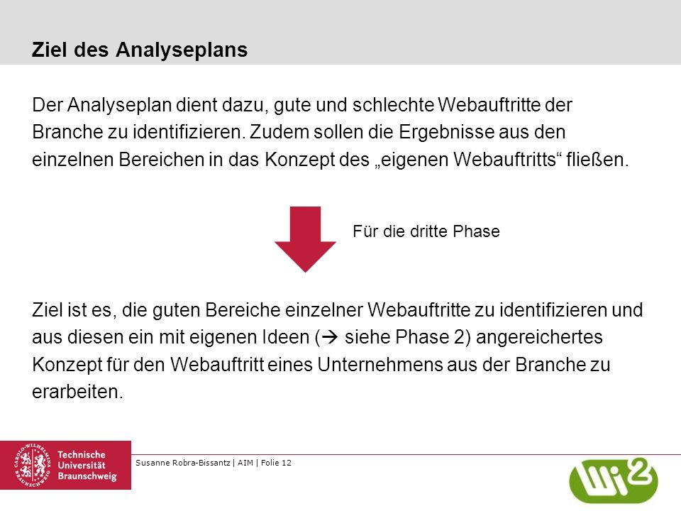 Susanne Robra-Bissantz | AIM | Folie 12 Ziel des Analyseplans Der Analyseplan dient dazu, gute und schlechte Webauftritte der Branche zu identifiziere