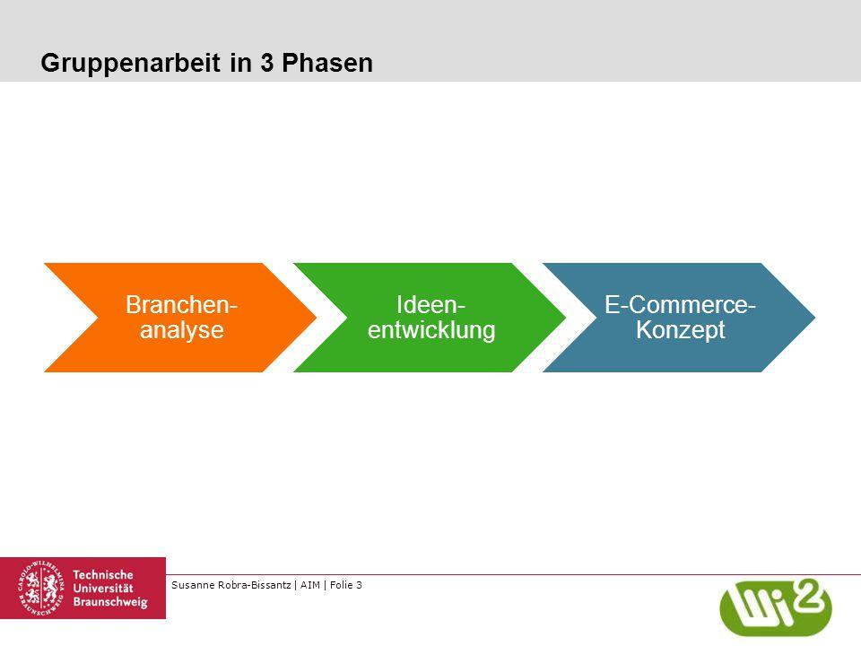 Susanne Robra-Bissantz | AIM | Folie 3 Gruppenarbeit in 3 Phasen Branchen- analyse Ideen- entwicklung E-Commerce- Konzept