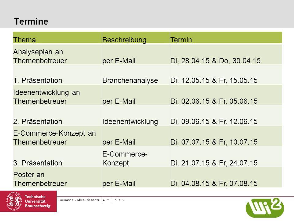 Susanne Robra-Bissantz | AIM | Folie 6 Termine ThemaBeschreibungTermin Analyseplan an Themenbetreuerper E-MailDi, 28.04.15 & Do, 30.04.15 1. Präsentat