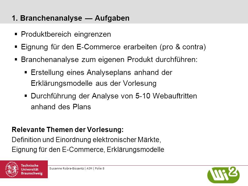 Susanne Robra-Bissantz | AIM | Folie 8 1. Branchenanalyse — Aufgaben  Produktbereich eingrenzen  Eignung für den E-Commerce erarbeiten (pro & contra