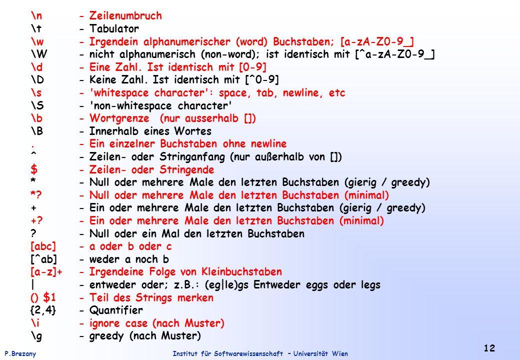 Institut für Softwarewissenschaft – Universität WienP.Brezany 12 \n- Zeilenumbruch \t- Tabulator \w- Irgendein alphanumerischer (word) Buchstaben; [a-