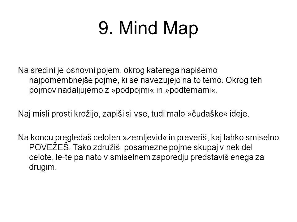 9. Mind Map Na sredini je osnovni pojem, okrog katerega napišemo najpomembnejše pojme, ki se navezujejo na to temo. Okrog teh pojmov nadaljujemo z »po