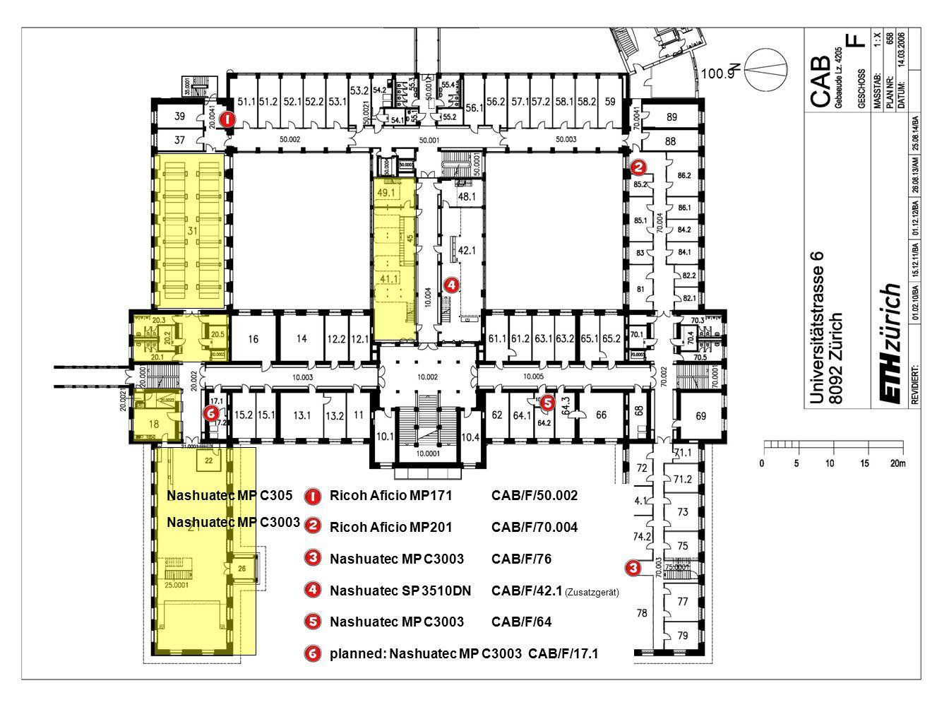 Ricoh Aficio MP2000 CAB/G/41 Nashuatec MP C3003 CAB/G/66.1 Ricoh MP161SPF CAB/G/69.3 planned