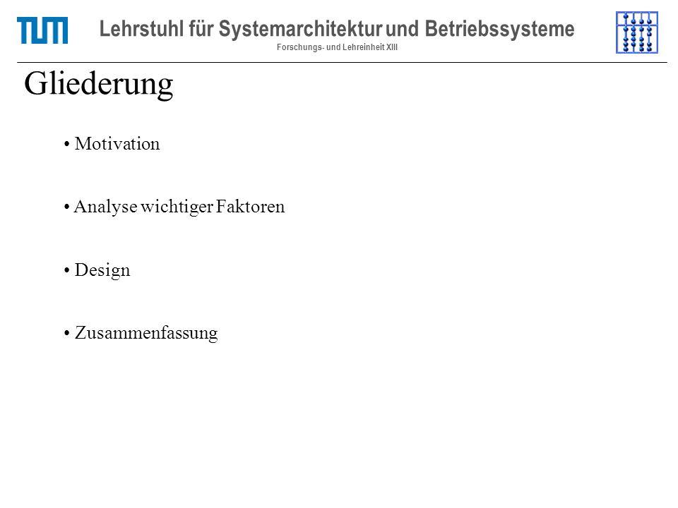 Gliederung Lehrstuhl für Systemarchitektur und Betriebssysteme Forschungs- und Lehreinheit XIII Motivation Analyse wichtiger Faktoren Design Zusammenfassung