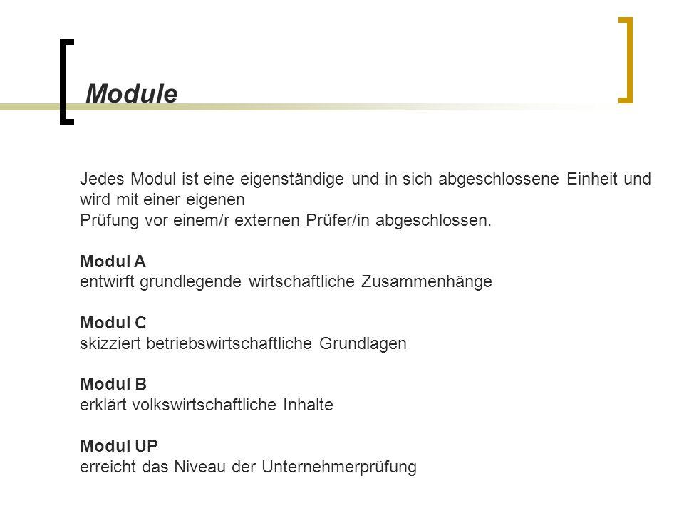 Jedes Modul ist eine eigenständige und in sich abgeschlossene Einheit und wird mit einer eigenen Prüfung vor einem/r externen Prüfer/in abgeschlossen.