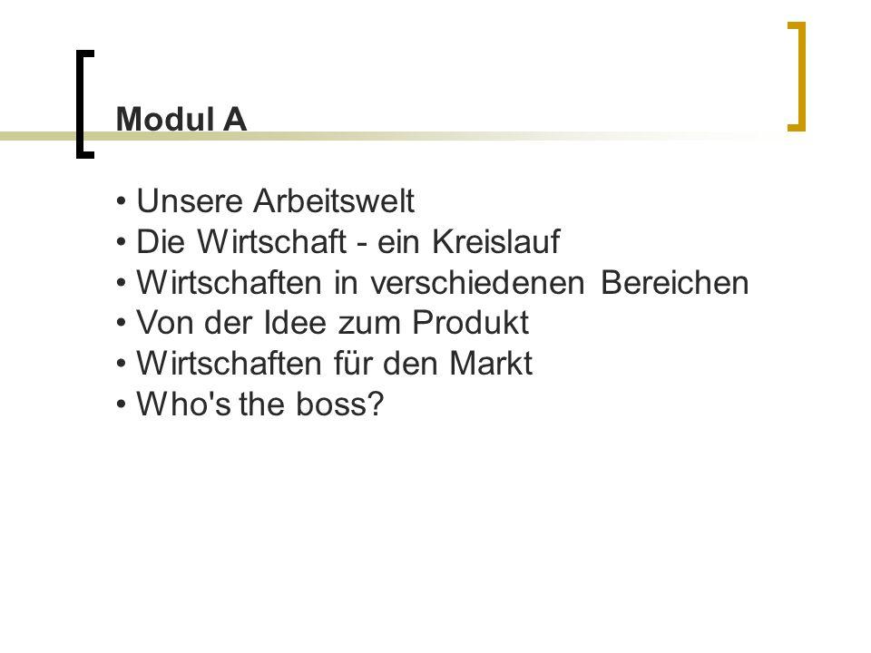 Modul A Unsere Arbeitswelt Die Wirtschaft - ein Kreislauf Wirtschaften in verschiedenen Bereichen Von der Idee zum Produkt Wirtschaften für den Markt Who s the boss
