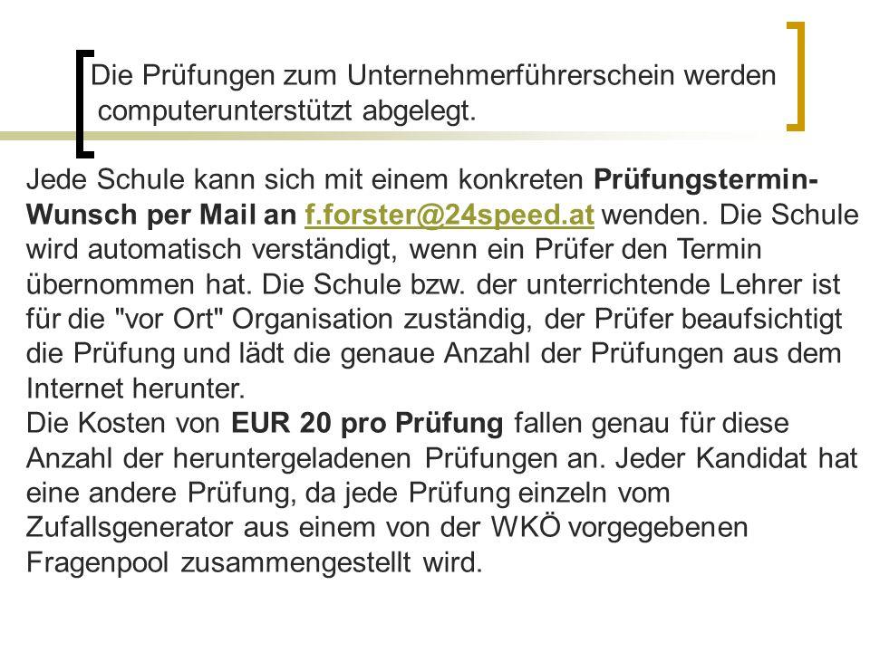 Jeder Prüfung kann beliebig oft wiederholt werden, die EUR 15,00 Prüfungsgebühr fällt jedoch jedes Mal an.