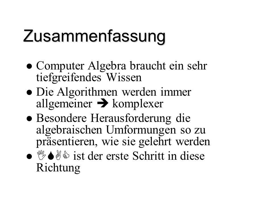 Zusammenfassung Computer Algebra braucht ein sehr tiefgreifendes Wissen Die Algorithmen werden immer allgemeiner  komplexer Besondere Herausforderung