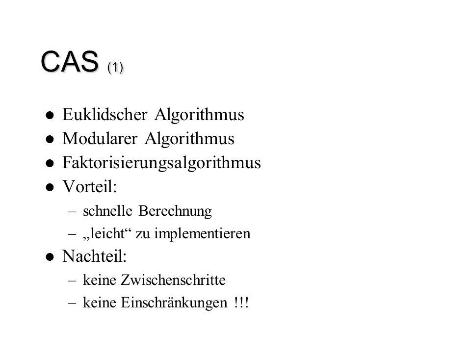 """CAS (1) Euklidscher Algorithmus Modularer Algorithmus Faktorisierungsalgorithmus Vorteil: –schnelle Berechnung –""""leicht"""" zu implementieren Nachteil: –"""