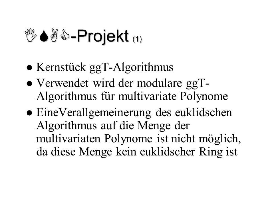 ISAC-Projekt (1) Kernstück ggT-Algorithmus Verwendet wird der modulare ggT- Algorithmus für multivariate Polynome EineVerallgemeinerung des euklidsche