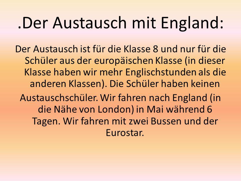 .Der Austausch mit England: Der Austausch ist für die Klasse 8 und nur für die Schüler aus der europäischen Klasse (in dieser Klasse haben wir mehr En