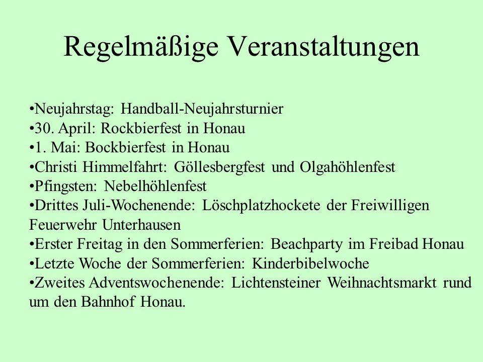 Regelmäßige Veranstaltungen Neujahrstag: Handball-Neujahrsturnier 30. April: Rockbierfest in Honau 1. Mai: Bockbierfest in Honau Christi Himmelfahrt: