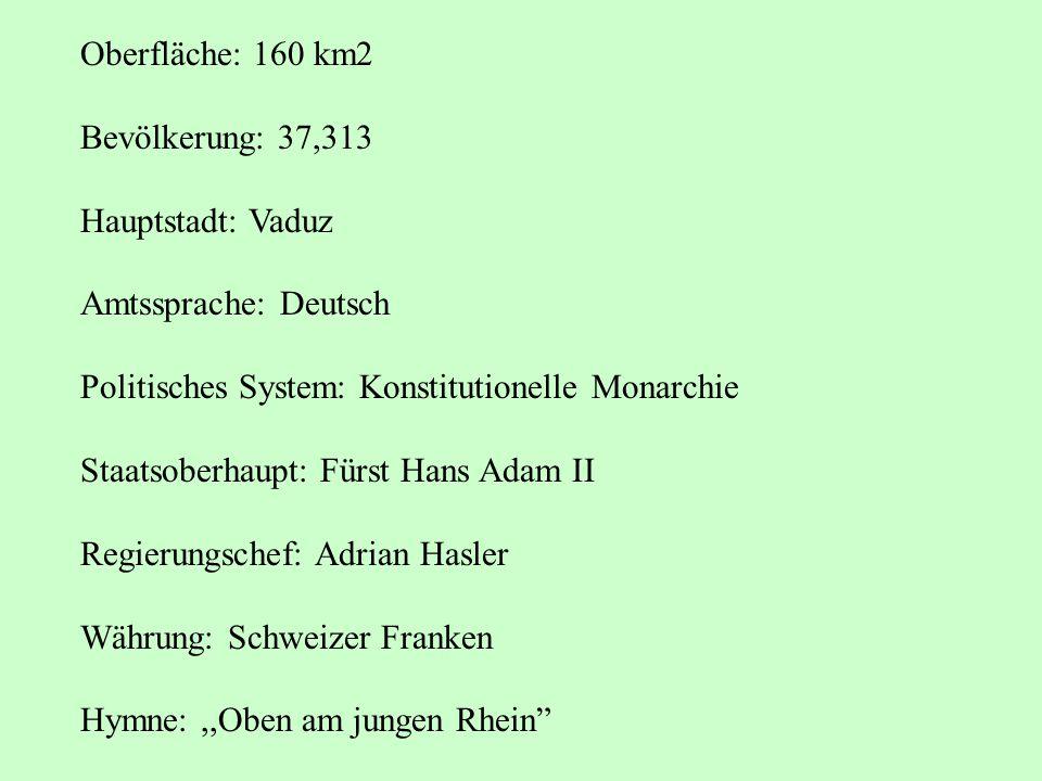 Oberfläche: 160 km2 Bevölkerung: 37,313 Hauptstadt: Vaduz Amtssprache: Deutsch Politisches System: Konstitutionelle Monarchie Staatsoberhaupt: Fürst H