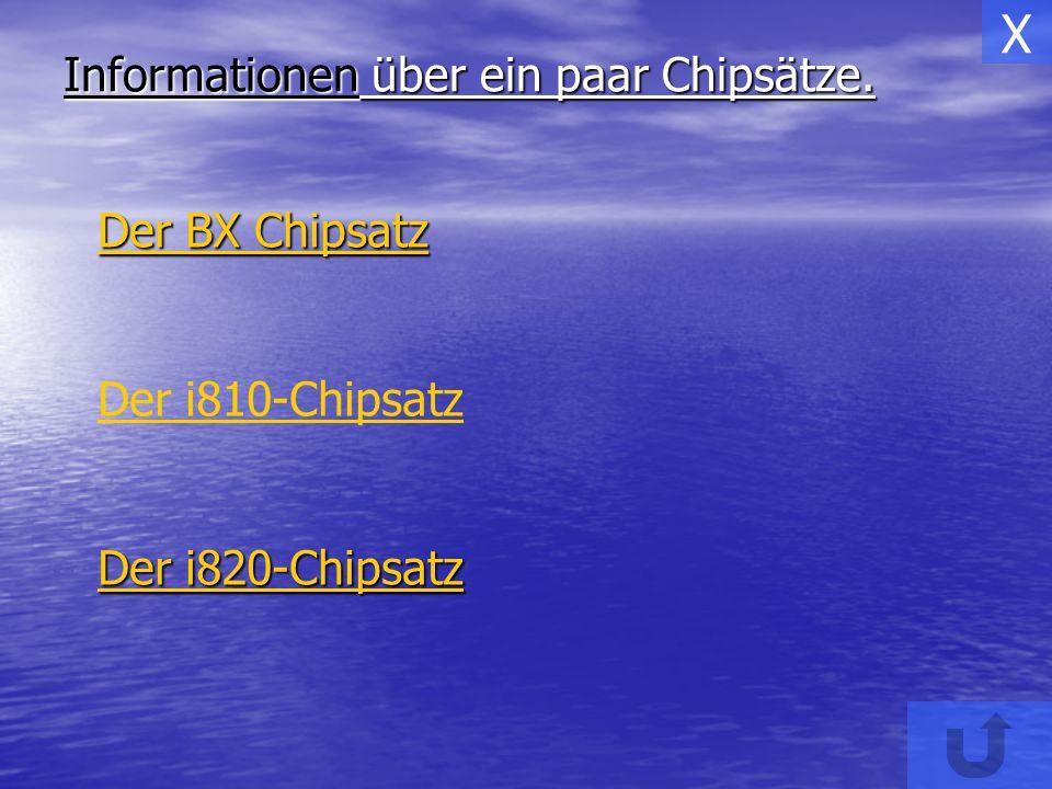 Informationen über ein paar Chipsätze. Der BX Chipsatz Der BX Chipsatz Der i810-Chipsatz Der i820-Chipsatz Der i820-Chipsatz X