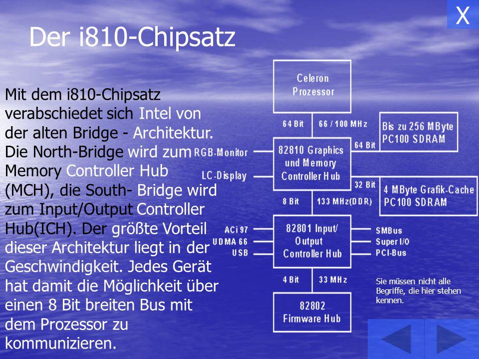 Den i810-Chipsatz gibt es in verschiedenen Ausführungen: i810-L: i810: i810-DC100: UDMA/33 ohne Grafikspeicher(Display- Cache) 4 PCI-Slots UDMA/66 ohne Grafikspeicher(Display- Cache) 6 PCI-Slots UDMA/66 4 MB Grafikspeicher(Display- Cache) 6 PCI-Slots X