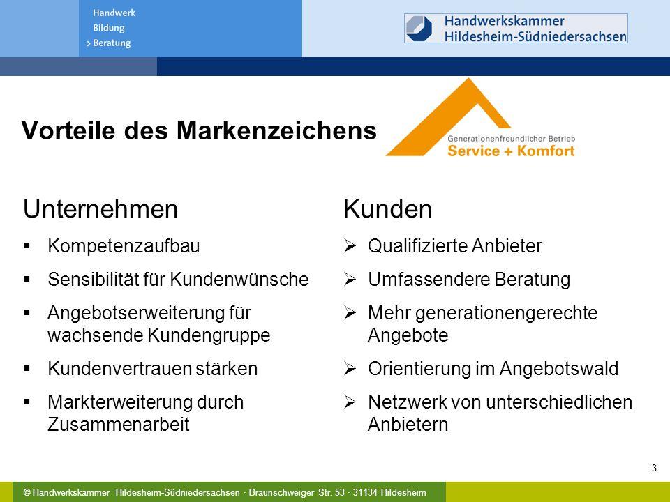 Vorteile des Markenzeichens Unternehmen  Kompetenzaufbau  Sensibilität für Kundenwünsche  Angebotserweiterung für wachsende Kundengruppe  Kundenve