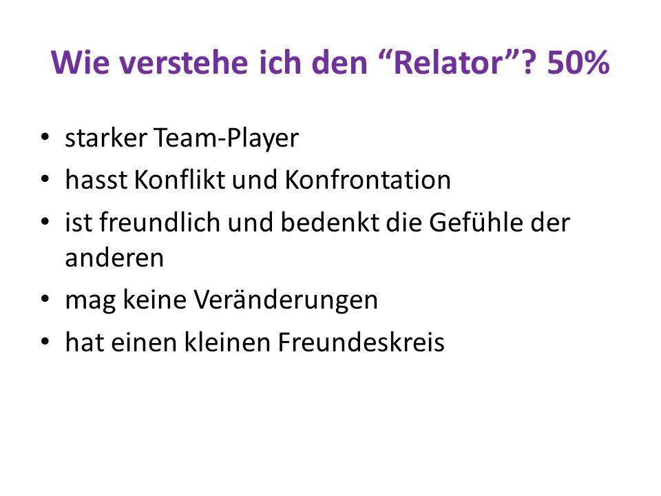 """Wie verstehe ich den """"Relator""""? 50% starker Team-Player hasst Konflikt und Konfrontation ist freundlich und bedenkt die Gefühle der anderen mag keine"""