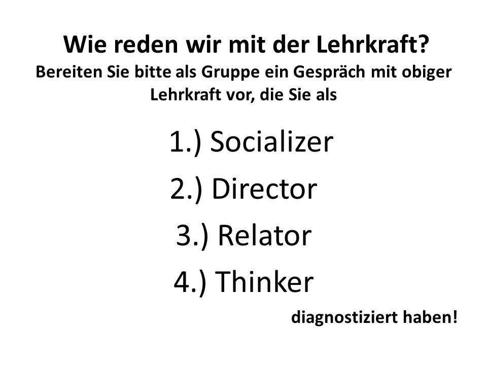 Wie reden wir mit der Lehrkraft? Bereiten Sie bitte als Gruppe ein Gespräch mit obiger Lehrkraft vor, die Sie als 1.) Socializer 2.) Director 3.) Rela