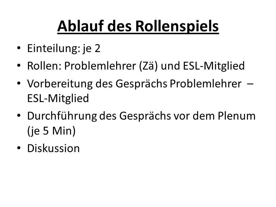 Ablauf des Rollenspiels Einteilung: je 2 Rollen: Problemlehrer (Zä) und ESL-Mitglied Vorbereitung des Gesprächs Problemlehrer – ESL-Mitglied Durchführ
