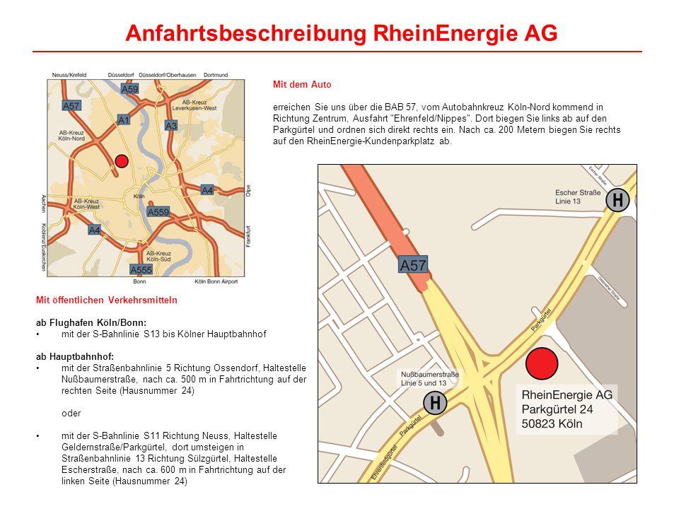 Mit dem Auto erreichen Sie uns über die BAB 57, vom Autobahnkreuz Köln-Nord kommend in Richtung Zentrum, Ausfahrt