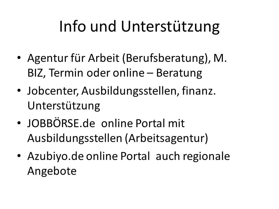 Info und Unterstützung Agentur für Arbeit (Berufsberatung), M. BIZ, Termin oder online – Beratung Jobcenter, Ausbildungsstellen, finanz. Unterstützung