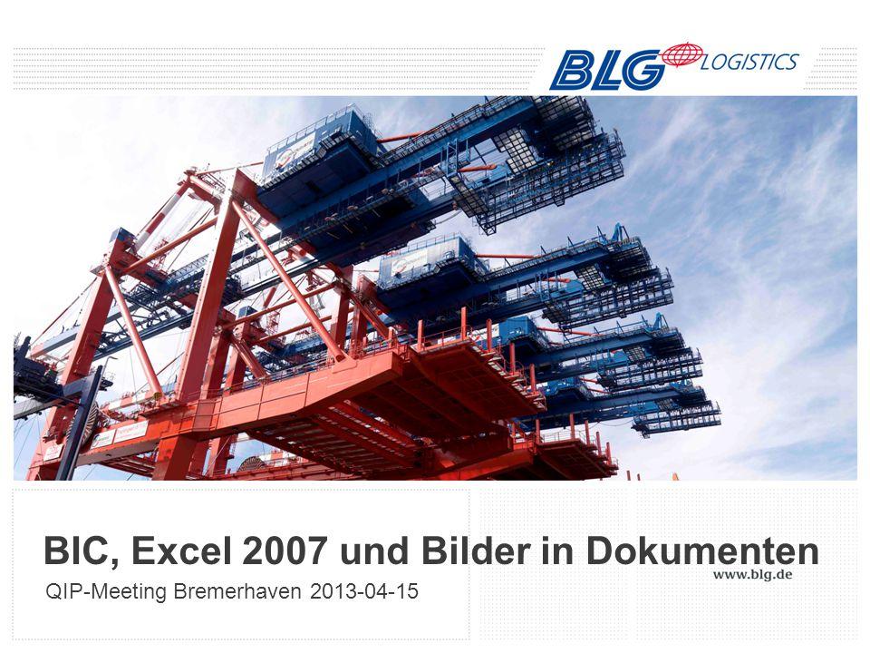 BIC, Excel 2007 und Bilder in Dokumenten QIP-Meeting Bremerhaven 2013-04-15