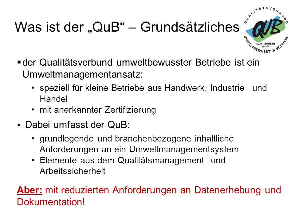 """Was ist der """"QuB – Überblick zu anderen Managementsystemen UM = UmweltmanagementAS = Arbeitsschutz QM = Qualitätsmanagement"""